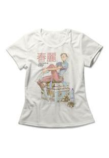 Camiseta Feminina Chun-Li Vintage Off-White