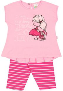 Conjunto Natural/Listrado Coral - Bebê Menina -Cottonmeia Malha - Feminino-Rosa