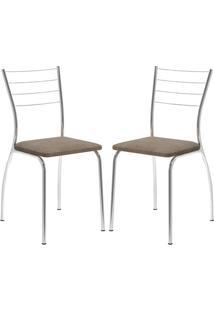 Cadeira 1700 Cromada 02 Unidades Camurça Conhaque Carraro