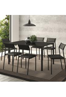 Conjunto Mesa 1526 Preta Com 6 Cadeiras 1709 Color Uv Preta Carraro