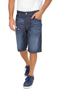 Bermuda Jeans Diesel Slim Estonada Azul