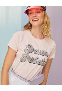 Amaro Feminino T-Shirt Malha Carnaval Estampa Glitter, Rosa Claro