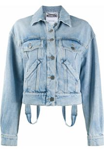 Moschino Dungaree Detail Denim Jacket - Azul