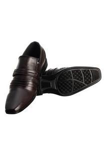 Sapato Social Masculino Elástico Metal Conforto Elegante Marrom Escuro 39 Marrom