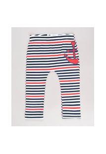 Calça Infantil Listrada Navy Com Âncora Branca
