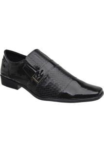 Sapato Social Masculino Verniz Elástico Estilo Elegante Leve - Masculino-Preto