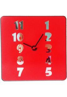 Relógio De Parede Em Madeira Mdf Laminado Vermelho Com Números Espelhados Vermelho
