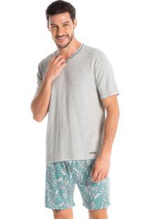 Pijama Masculino Decote V Curto Estampado Guilherme