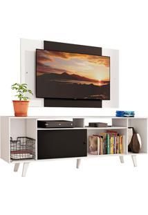 Rack Madesa Cancun E Painel Para Tv Até 58 Polegadas Com Pés - Branco/Preto 73C7 Branco