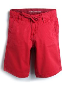 Bermuda Sarja Calvin Klein Kids Menina Lisa Vermelha