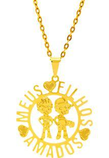 Gargantilha Horus Import Meus Filhos Amados Banhada Ouro Amarelo 18 K 1060179