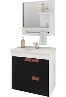 Gabinete Suspenso Para Banheiro Tulipa Com Espelho 59X35,5Cm Branco E Preto