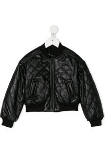 Monnalisa Quilted Bomber Jacket - Preto
