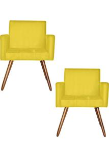 Kit 2 Poltronas Decorativas Kasa Sofá Vitoria Suede Amarelo