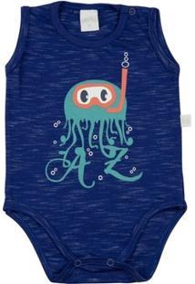 Body Infantil Ano Zero Malha Millecolor Polvo Az Masculino - Masculino-Azul Royal