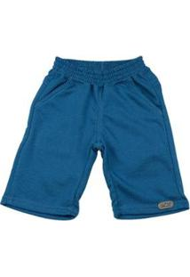 Bermuda Infantil Moletinho Essential Com Ano Zero Masculina - Masculino-Azul