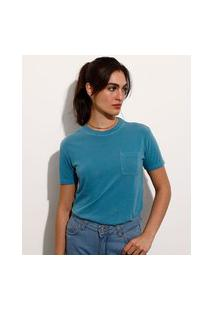 T-Shirt De Algodão Com Bolso Manga Curta Decote Redondo Mindset Azul