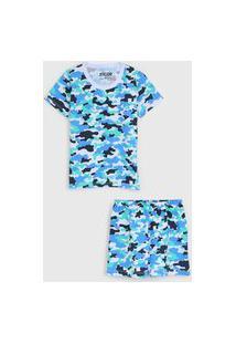 Pijama Tricae Curto Infantil Camuflado Branco/Azul