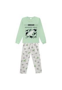 Pijama Infantil Abrange Estampa Dinos Que Brilha No Escuro Verde E Cinza Abrange Casual Verde