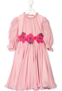 Dolce & Gabbana Kids Vestido Com Detalhe De Estampa Floral - Rosa