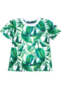 Camiseta For Princess Estampada Folhas Verde