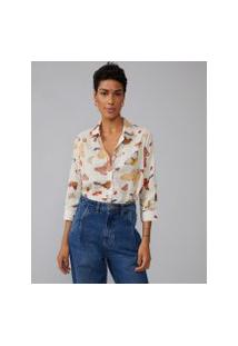 Amaro Feminino Camisa Básica Viscose Estampada, Magic Butterfly Off