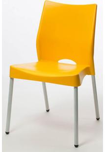Cadeira Malba Base Fixa Pintada Cinza Cor Amarelo - 17539 - Sun House