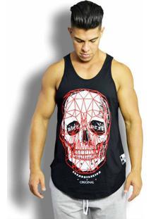 Regata Masculina - 3D Skull - Tradicional - Pto - Masculino