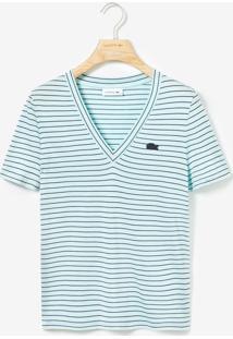 Camiseta Lacoste Listrada Azul - Kanui