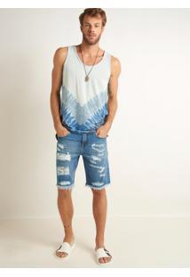 Bermuda John John Classica Piaui Jeans Azul Masculina (Jeans Medio, 46)