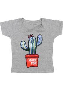 Camiseta Fun Friends Kids Manga Curta Menina Cinza