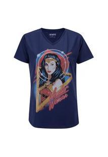 Camiseta Liga Da Justiça Mulher Maravilha Face - Feminina