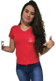 Camiseta Gola V Cellos Royal Band Premium Feminina - Feminino-Vermelho