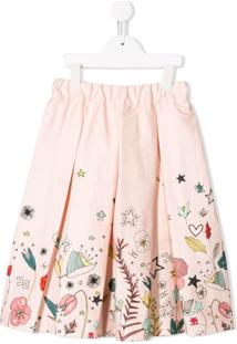 Elisabetta Franchi La Mia Bambina Flower Print Skirt - Rosa