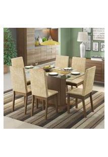 Conjunto Sala De Jantar Valentina Madesa Mesa Tampo De Vidro Com 6 Cadeiras Rustic/Suede Imperial