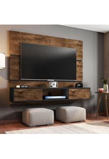 Painel Para Tv Até 65 Polegadas Âmbar Marrom Escuro E Preto