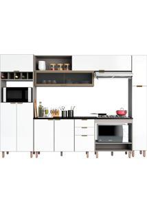 Cozinha Compacta 5 Peças C/ Forno Flair-Poliman - Fumê / Branco