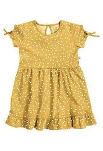 Vestido Curto Em Malha De Algodão Amarelo