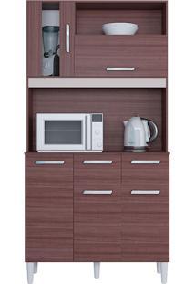 Cozinha Compacta Flex Com 5 Portas E 2 Gavetas Ellen – Poquema - Capuccino / Offwhite / Amarelo