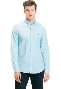 Camisa Tommy Hilfiger Masculina Classic Poplin Regular Fit Azul Claro