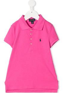 Ralph Lauren Kids Vestido Polo Com Logo Bordado - Rosa