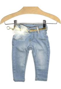 Calça Jeans Infantil Kidin´S Feminina - Feminino-Azul Claro