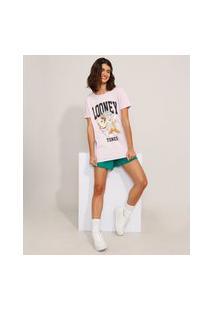 Camiseta De Algodão Pernalonga E Taz Looney Tunes Manga Curta Decote Redondo Lilás