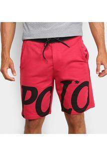 Bermuda Moletom Polo Rg 518 Estampada Masculina - Masculino-Vermelho