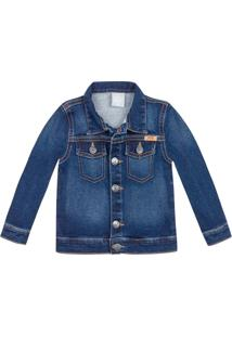 Jaqueta Hering Kids Jeans Play Jeans Azul