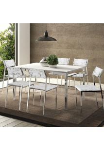 Conjunto Mesa 1526 Branca Cromada Com 6 Cadeiras 1709 Fantasia Branco Carraro