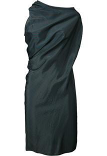 Mm6 Maison Margiela Vestido Listrado Com Drapeado - Green