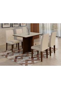Conjunto De Mesa De Jantar Com Vidro E 4 Cadeiras Ane I Veludo Castor E Creme