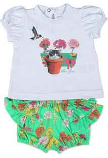 Conjunto Bebê Cotton E Malha Estampada Digital Ga - Feminino-Branco+Verde