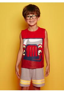 Pijama Infantil Puket Curto Regata Bombeiro - Masculino-Vermelho